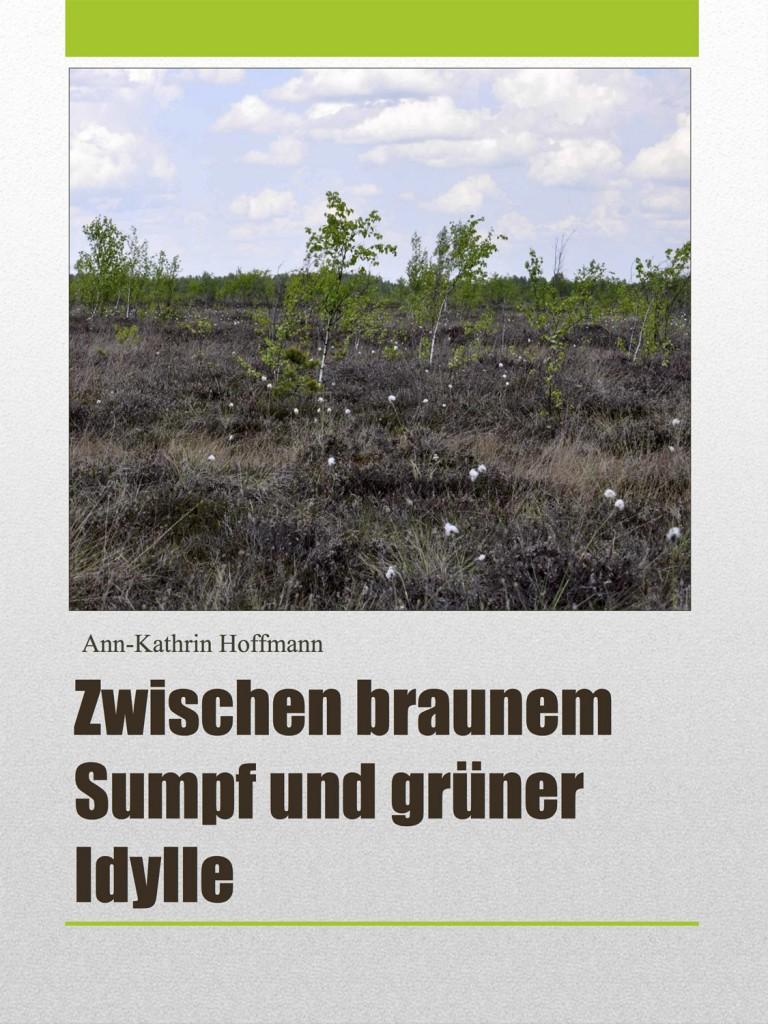 """Das Cover der Broschüre """"Zwischen braunem Sumpf und grüner Idylle"""" von Kathrin Hoffmann."""